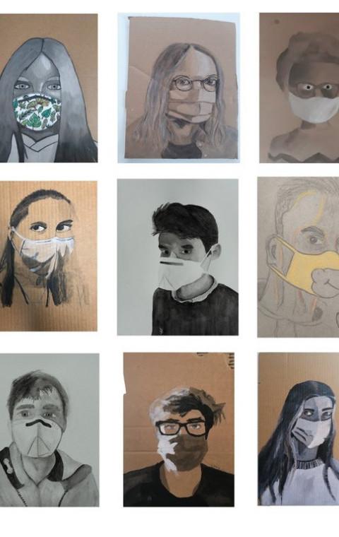 Mondmaskers worden kunst in Lokeren.